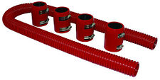 """48"""" Red Stainless Flexible Radiator Hose Kit W/ Billet Clamp Covers Chevy Ford"""