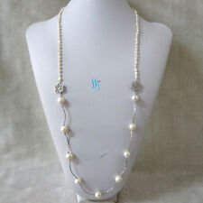"""Round Freshwater Pearl Necklace 2F 35"""" 3-12mm White Baroque Off"""