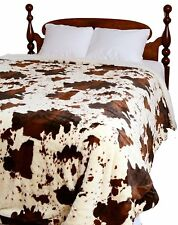 COW SHAGGY 1pc Queen COMFORTER : CHOCOLATE BROWN BLANKET FUR SHERPA COWHIDE FARM