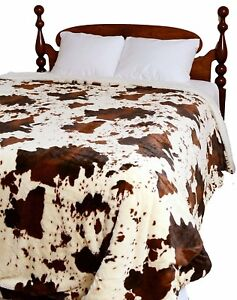 RODEO COW SHAGGY 1pc Queen COMFORTER : CHOCOLATE BROWN FUR SHERPA COWHIDE