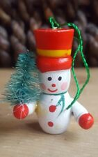 """Vintage Wooden Snowman w tree hat Christmas Tree Decoration 2"""" tall • pre-owned"""