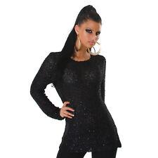 Pailletten Pullover one size 36/38 schwarz