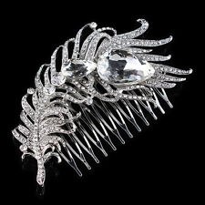 Luxury Wedding Bridal Hair Combs Diamante CZ Crystal Peacock Feathers Tiara Prom