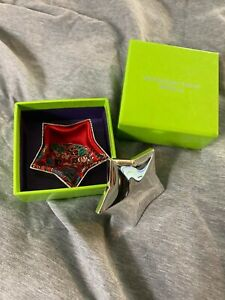 SHANGHAI TANG Luxury Silver Star Jewelry Cufflinks Trinket Box Only w Red Lining