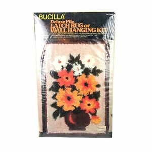"""Vintage Bucilla Deluxe Pile Latch Rug or Wallhanging Kit #12806 """"Bouquet"""""""