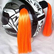 """ORANGE Helmet Pigtails..(Pair) Motorcycle, Bike, .Helmet Hair  14"""" each ... ORAN"""