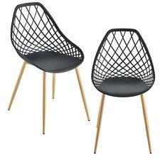 [en.casa] 2x Design Stühle Esszimmerstuhl Bürostuhl Stuhl Kunststoff Schwarz
