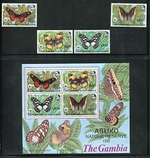 Gambia 404-407a, MNH, WWF Insects Butterflies, 1980. x26139
