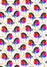 Christmas Gift Wrap Robins 4 Sheets with 8 Matching Gift Tags Wrapping Paper