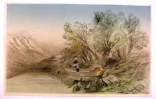 LANDSCAPE FIGURES IN A PUNT ON A RIVER PENCIL/WASH W.R.C 1861