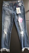 NWT ALMOST FAMOUS Juniors Distressed Mid Rise Jeans Size 9 Crop(UBJAFS)