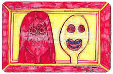 HAPPY COUPLE original art folk/outsider Jay Snelling Brut ACEO Playing Card