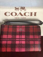 Adorbs Coach PVC Shadow Plaid Brown/Pink/Red Corner Zipper Wristlet F23632 NWT