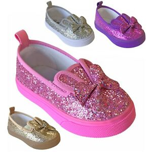 Baby Toddler Girls Bunny Ear Flats Glitter Sequin Bow Slip On Shoe Size 2 to 7