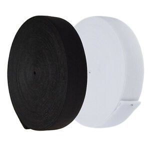 25mm Flat Elastic Tape Stretchy Band Waistband Sewing Dress Craft Black White