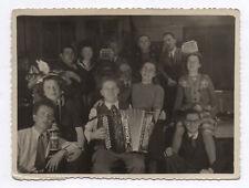 PHOTO ANCIENNE Musicien Musique Accordéon Piermaria Groupe Fête Rire Vers 1940