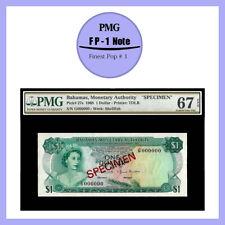 *** FP - 1 NOTE **** Bahamas - P#27s 1 Dollar 1968 Specimen   PMG 67 EPQ