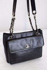 Authentic Vintage CHANEL Logo Black Caviar Leather Tote Shoulder bag Purse-Italy
