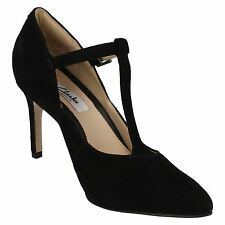Clarks Dinah Dolly Womens UK 5.5 Black Suede Leather Pointed T-Bar Court Shoes