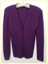 Prada $880 purple cashmere/silk fine knit skinny fit v-neck cardigan~M/S