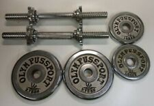 Pair Of Olympus Sport Silver Dumbbells With Two Bars And 4 Weights #424