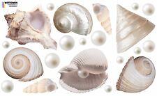Aufkleber Sticker Wandaufkleber Wandsticker Muscheln Shell Groß Beige See Bad WC