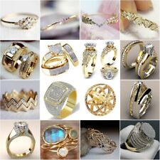 Vintage 18K Yellow Gold Filled White Sapphire Ring Women Men's Wedding Jewelry