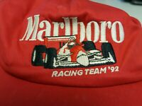 Marlboro Racing Team '92 red ball cap embroidered race cars vintage hat