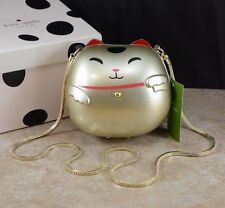 Kate Spade creme de la creme gold good fortune hello kitty Cat clutch handbag