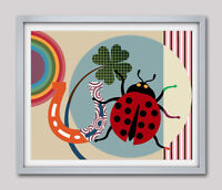 Wall Art Print Ladybird Flower Horseshoe Home Decor Poster Abstract Painting