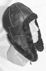 BLACK Warm Sheepskin Shearling Leather Russian Ushanka Trapper Trooper Hat L-XL