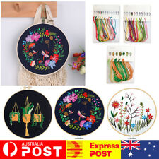 Embroidery Beginners DIY Cross Stitch Kits Pre-Printed Floral Pattern With Hoop
