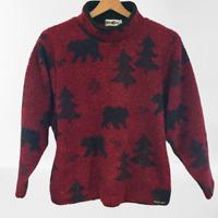 Winona Size 12 Medium S M Red & Black Chuck Roast Berber Fleece Bear Nature Top