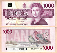1988 $1000 Bird Series QE2 Bank of Canada Note, VF/EF Condition
