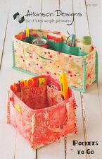 POCKETS TO GO Organizer Pattern by Atkinson Designs 2 Sizes! Purse or Desk!
