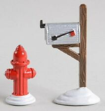 *Dept 56 Sv Fire Hydrant & Mailbox, Christmas Trash Cans, Village Mailbox - Nib*
