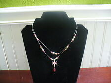"""2 Strand Silver Nylon Cord Pink Clear Plastic Bead Flower Pendant 18"""" Necklace"""
