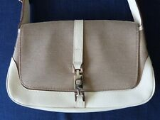 Women's Vintage 1980s Gucci baguette mini bag, white leather and canvas