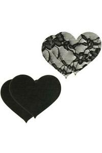 Women Self Adhesive Nipple Covers Satin & Lace Heart Shaped Breast Pasties