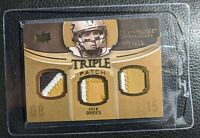 2010 EXQUISITE DREW BREES GAME USED TRIPLE JERSEY PATCH CARD SAINTS 29/75