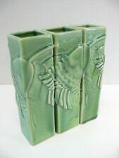 "3-Piece VASE SET Continuous Floral Pattern Crazed Green Glaze by Global Views 8"""