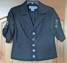 Short Sleeved Lined BRODERIE ANGLAISE Black JACKET/Blouse Dizzy Lizzie-Small