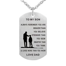 To My Son Always Remember You are Braver Father Son Pendant Dog Tag Necklace USA