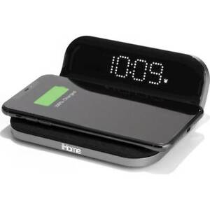 iHome iW18BE Digital Alarm Clock with Qi Wireless Charging and USB Input