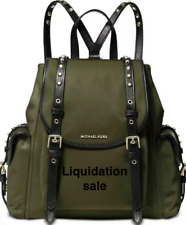 New Michael Kors Leila Nylon Medium Flap Olive/Gold Backpack