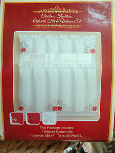 CHRISTMAS TRADITIONS CUTWORK WHITE/SILVER Tier 56x36 & Valance 58x14  NIP