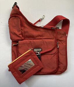 baggallini Crossbody Bag Purse Orange Includes Small Zipper Card Holder/mirror