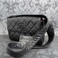 Rise-on Vintage CHANEL Matelasse Black Lamb Skin Leather Shoulder bag #1717