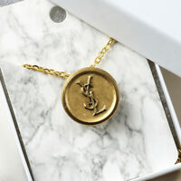 "YSL Button Charm Necklace Gold Repurposed Vintage .8"" Charm +FREE GIFT!!!"