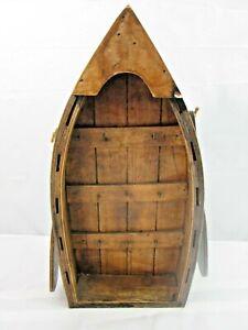Blue Wood Boat Key Holder 8 Key Hooks Paddles On Side